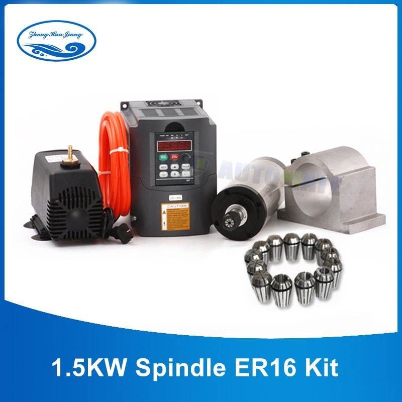 0.8kw/1.5kw/2.2kw Water Cooled Spindle Kit + 1.5kw/2.2kw VFD + 65mm/80mm clamp + water pump/pipe +1set ER11/16/20 for CNC
