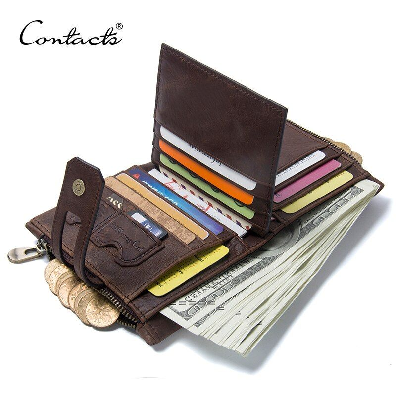 CONTACT'S <font><b>Genuine</b></font> Crazy Horse Leather Mens Wallet Man Cowhide Cover Coin Purse Small Brand Male Credit&ID Multifunctional Walets
