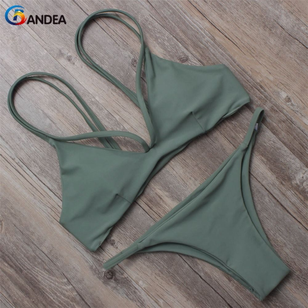 BANDEA  brazilian bikini 2017 swimwear women bikini brand reversible swimsuit halter swimwear padding swim suit HA860
