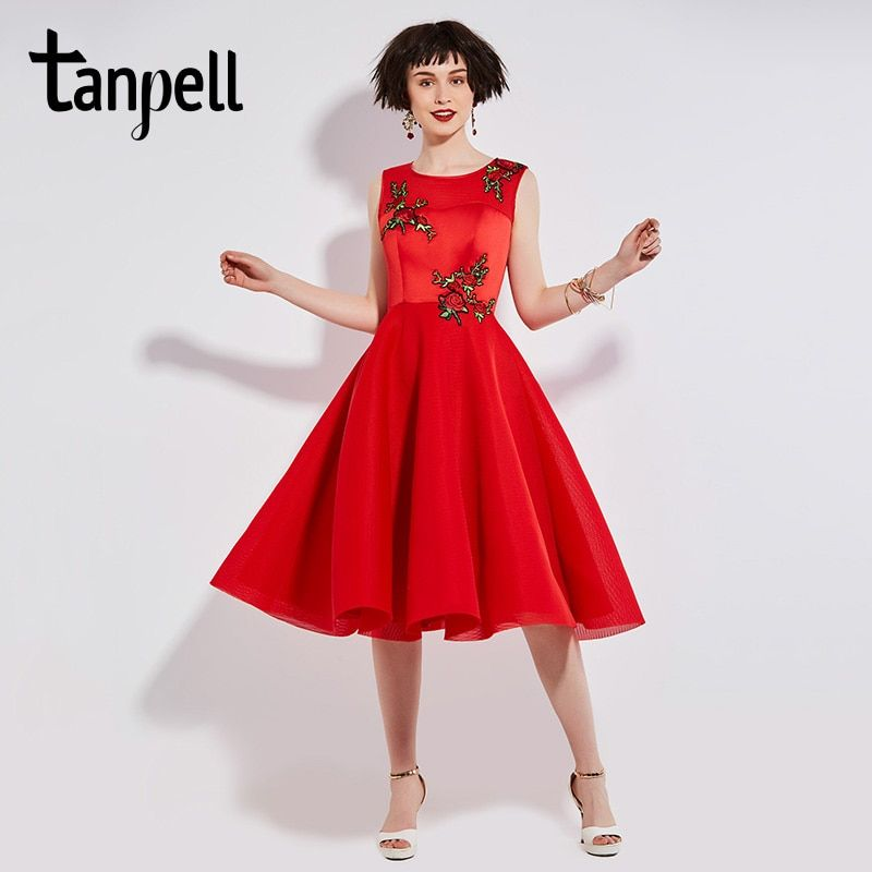 Tanpell short homecoming dress red o neck sleeveless tea length expansion gown women floral embroidery party homecoming dresses
