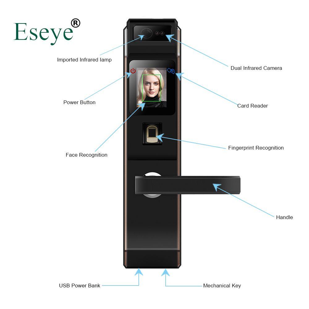 Eseye Electronic Lock Door Face Digital Door Lock Fingerprint Intelligent Electronic Locks Smart Door Lock Touch Screen Keyless