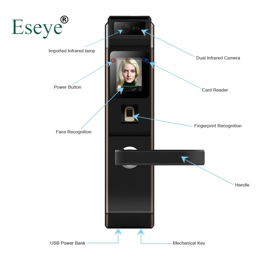 Eseye Electronic Lock Door Face Digital Door Lock Fingerprint Intelligent Electronic Locks Smart Door Lock Touch Screen Keyless