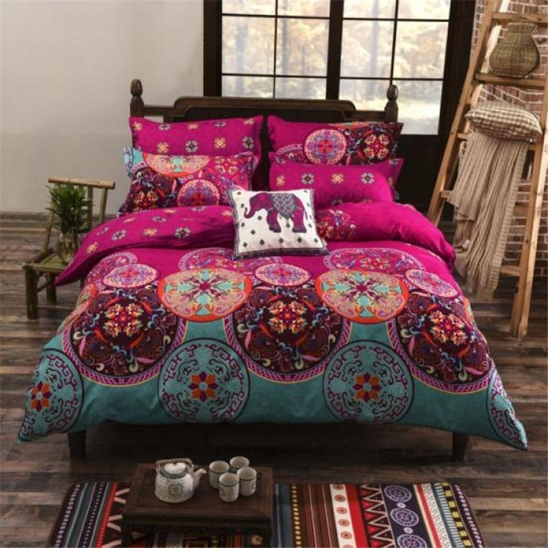 UNIKEA National Style Recto Prune <font><b>Reversible</b></font> Duvet Cover Bed Sheet with Pillow Sham Boho Mandala Bedding Set Twin Full Queen Kin