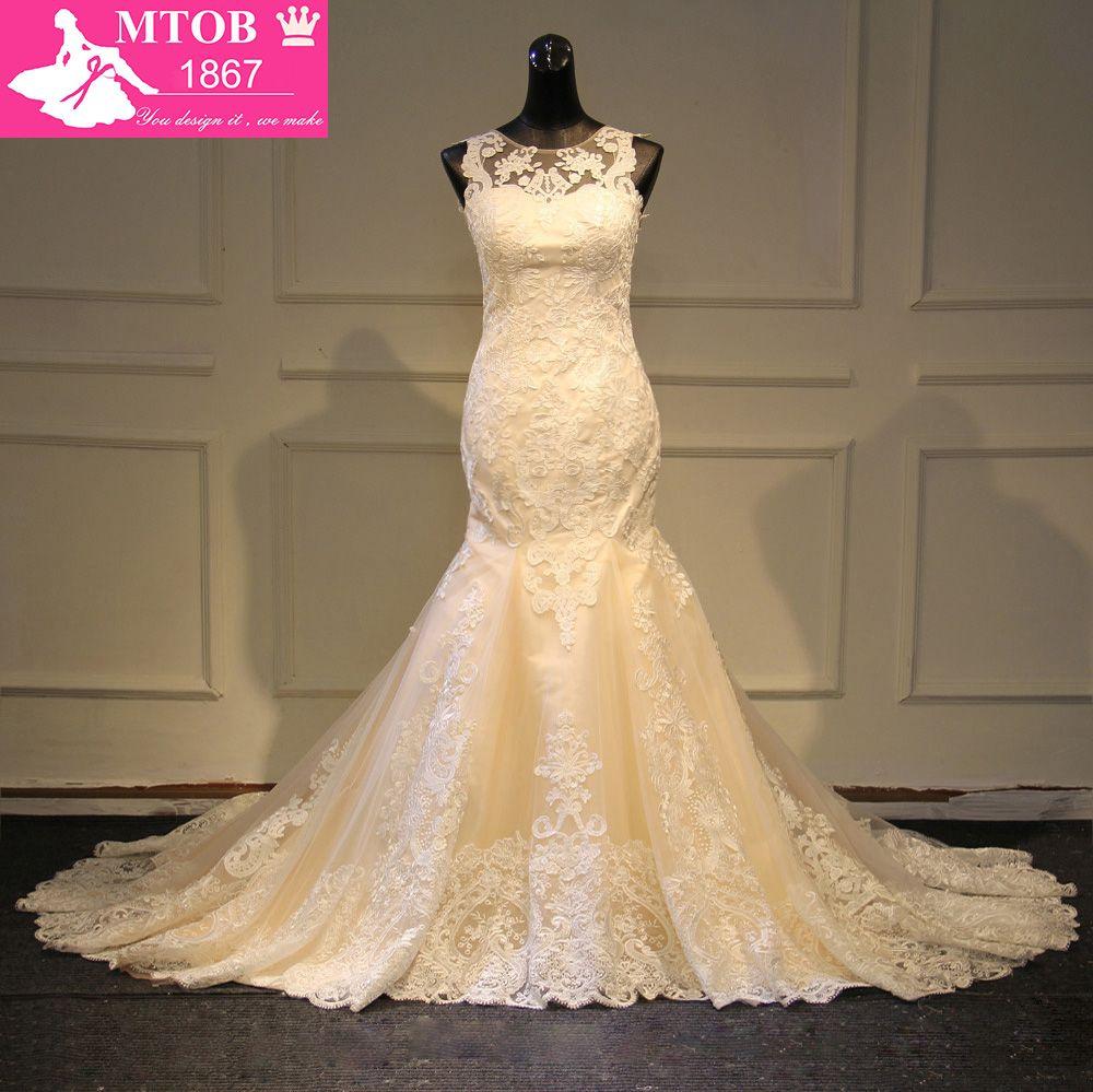 Modische Spitze Meerjungfrau Hochzeit Kleid 2019 Champagne Vestido De Casamento Sehen Durch Backless Vintage Hochzeit Kleider MTOB1730