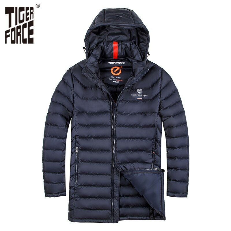 TIGER KRAFT Marke Männer Gepolsterte Jacke Winter Warme Polyester Mittel Langen Mantel biobasierte Baumwolle Mantel Frühling Herbst männer Jacke
