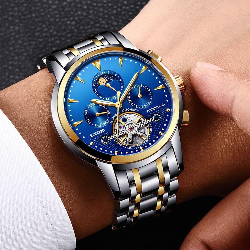 Relogio Masculino Herren Uhren Neue LIGE Top Marke Luxus männer Automatische Mechanische Uhr Mens Fashion Business Wasserdichte Uhr
