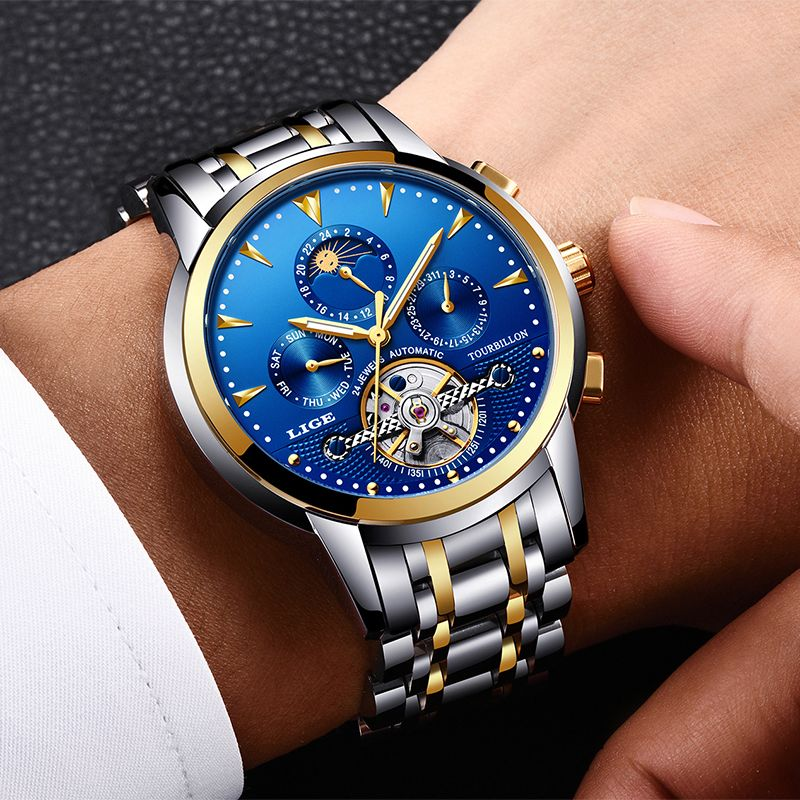 Relogio Masculino Mens Watches New LIGE Top Brand Luxury Men's Automatic Mechanical Watch Mens Fashion Business Waterproof Watch
