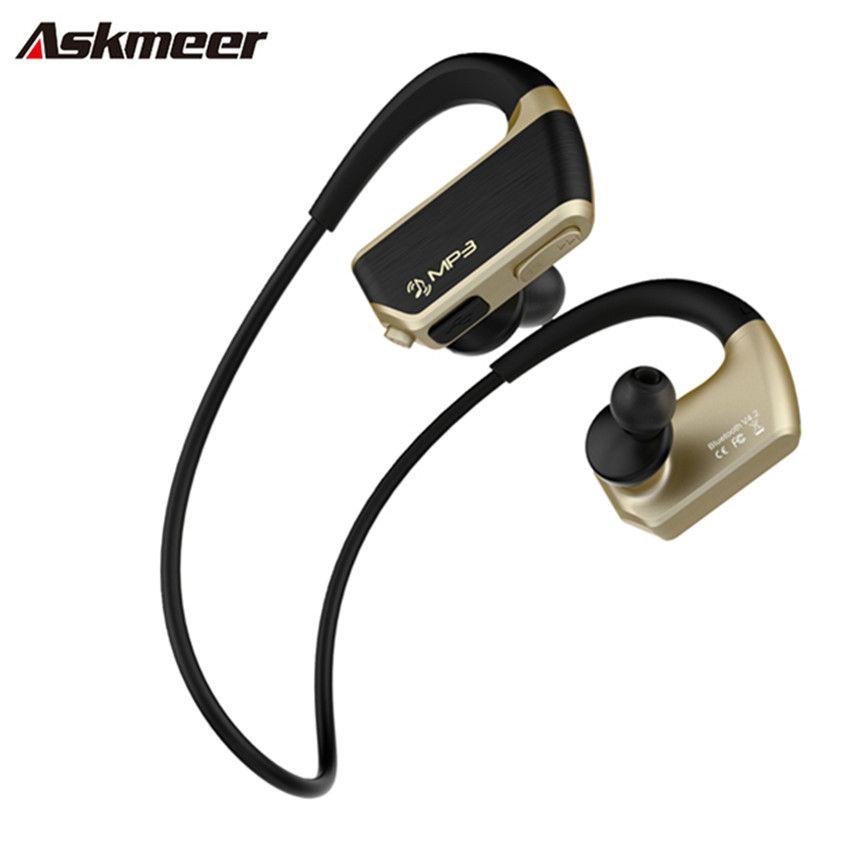 Askmeer J2 8G Anti-schweiß Mp3 Musik-player + Wireless Bluetooth Headset mit Mikrofon Sport Lauf Kopfhörer ohrhörer für Telefon
