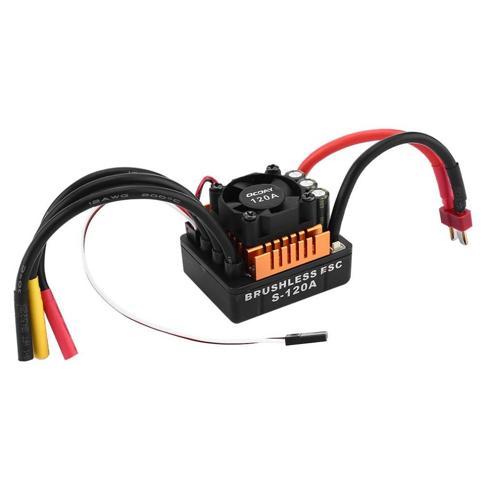 OCDAY Mini Waterproof 120A Brushless ESC Electric Speed Controller with 4mm Banana Connector 6.1V/3A SBEC for 1/8 RC Car