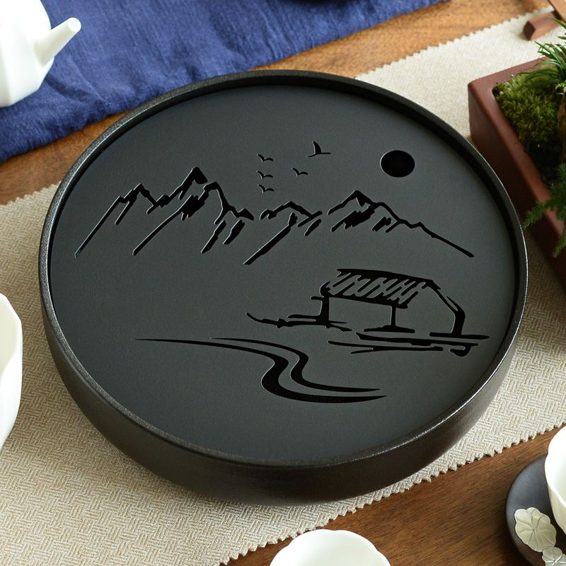 Ceramic Metal Tea tray Drainage Water storage Kung Fu Tea set room Board table Black/White Chinese tea cup ceremony tools