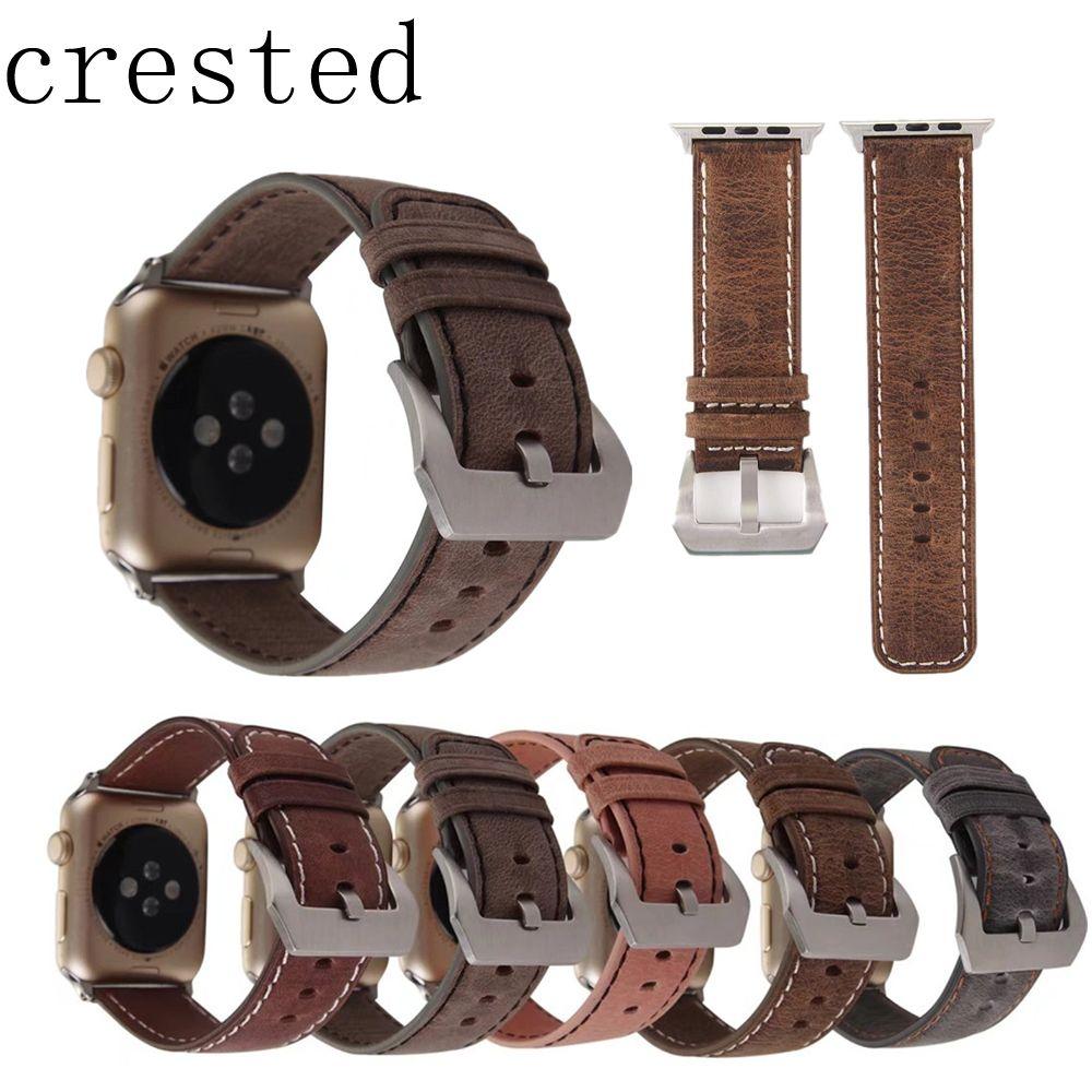 AIGRETTES Véritable montre En Cuir bande pour apple montre iwatch série 3/2/1 42mm/38mm remplacement bracelet poignet bracelet