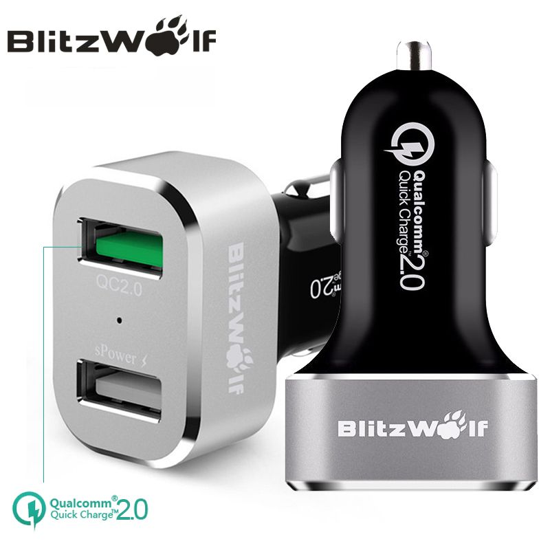 BlitzWolf BW-C6 QC2.0 Quick Charge 2.0 Dual Port USB Car Charger Universal Mobile Phone Car-Charger 30W For Samsung For iPhone 7