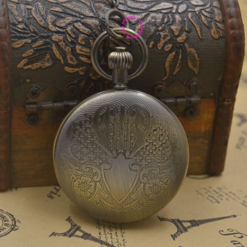 Wholesale Buyer Price Good Quality Man Black Retro Vintage Classic Shield Shape Figure Brass Mechanical Pocket Watch