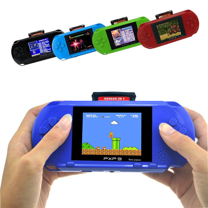 3 Inch 16 Bit PXP3 Slim Station Video Games Player Handheld Game With <font><b>2pcs</b></font> Game Card Console built-in 150 Classic Games
