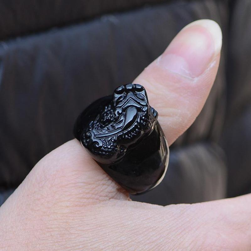 Bague en pierre obsidienne noire naturelle sculpture sur troupes courageuses mystérieux Animal hommes taille de bague 10 12 nouveaux arrivants 2017 Aneis