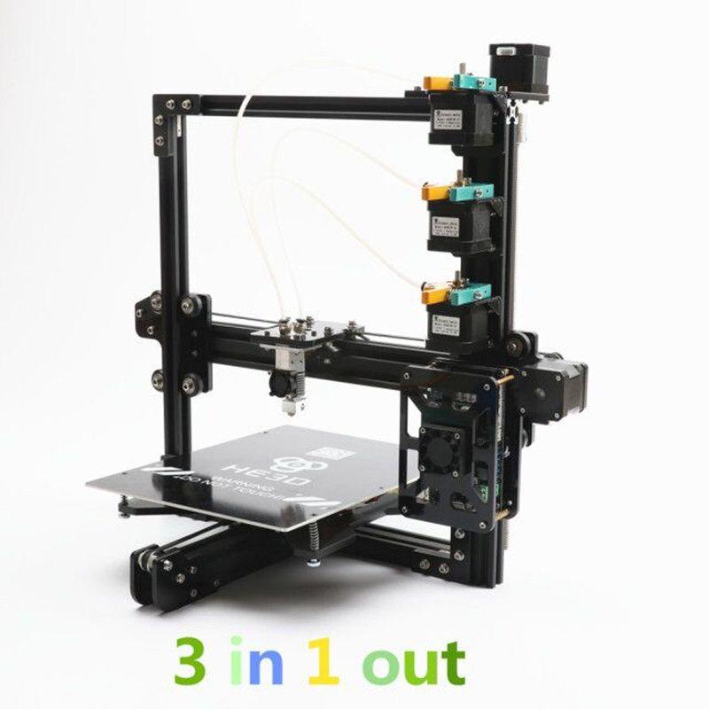Neue upgrade HE3D tricolor DIY 3D drucker kits, 3 in 1 heraus extruder, große druck größe 200*280*200mm