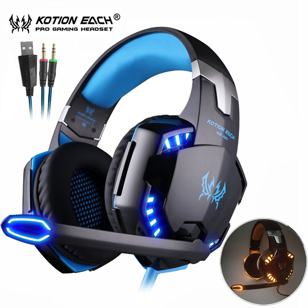 Kotion EACH G2000/G4000 Computer Gaming Headphones <font><b>Best</b></font> Stereo Casque Deep Bass Game Earphone Headset with Mic LED Backlight