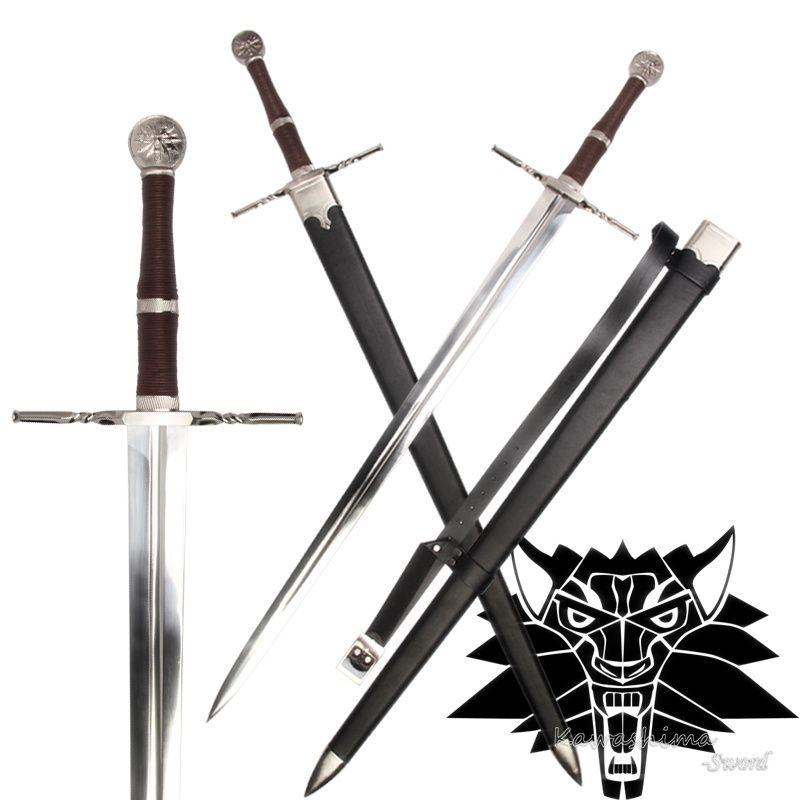 Épée médiévale acier inoxydable pour jeu vidéo le witcher3: chasse sauvage réplique Geralt de Rivia lame flambant neuf pas d'approvisionnement pointu