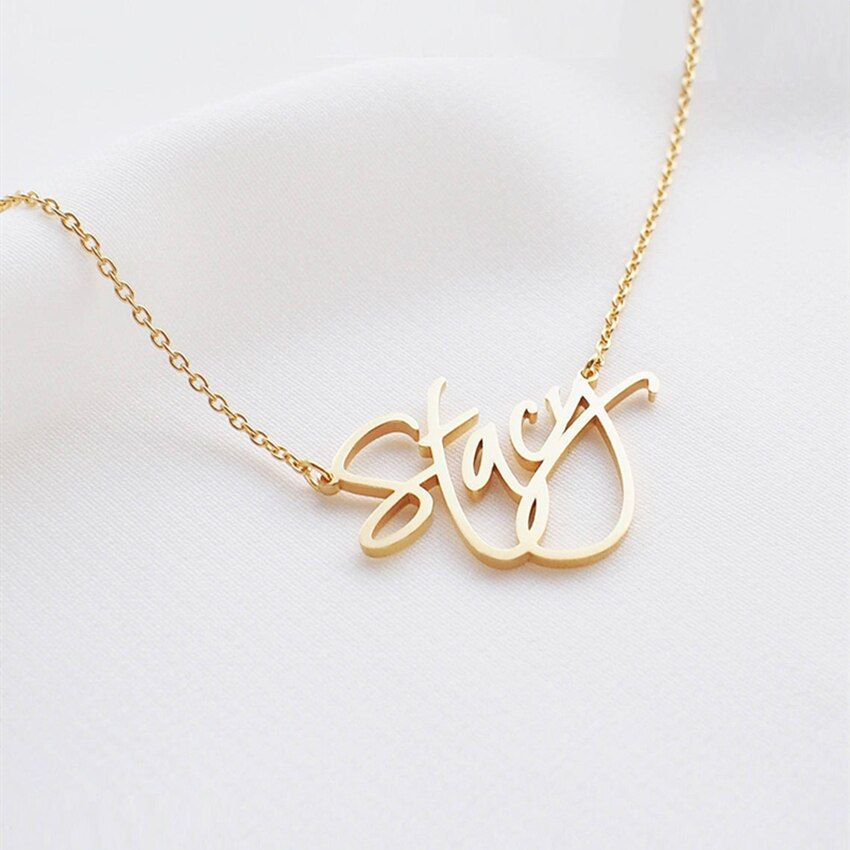 Collier personnalisé nom cursif personnalisé en acier inoxydable couleur or plaque signalétique pendentif collier ras du cou durable brillant bijoux