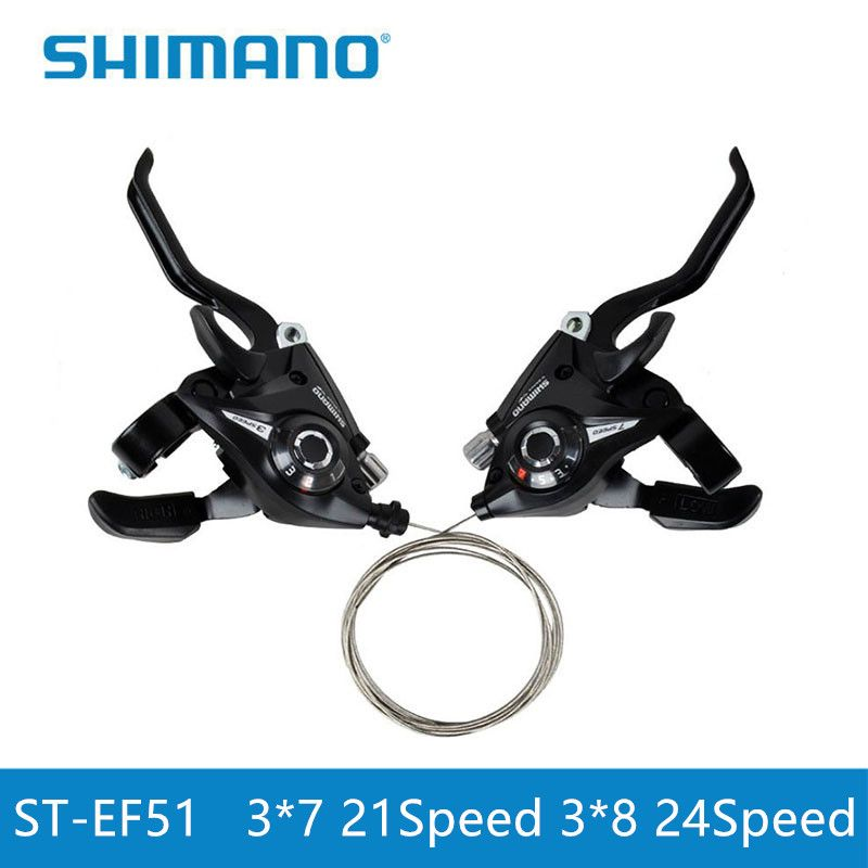 Shimano Bicycle EF51 Shifters ST-EF51-7 ST-EF51-8 Mountain Bike Shifter Set Cycling Levers Shift Levers 21 24 speeds Lucky Black