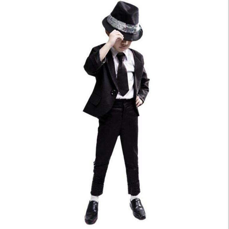 5 UNIDS Traje/Set Michael Jackson Jacket + Shirt + Pants + Hat + Tie Traje de Halloween Kids Boy conjunto Para Los Niños Del Cabrito de la Navidad Ropa de Los Cabritos