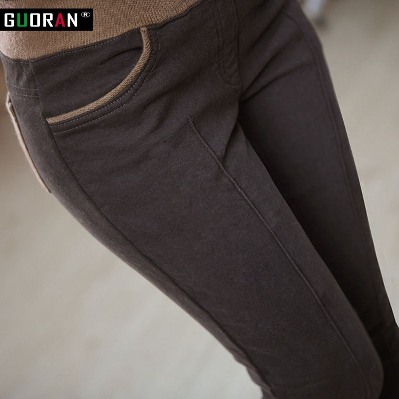 Hiver chaud femmes stretch haute élastique taille occasionnels coton pantalon Plus La taille S-4XL épais polaire dames patchwork crayon pantalon