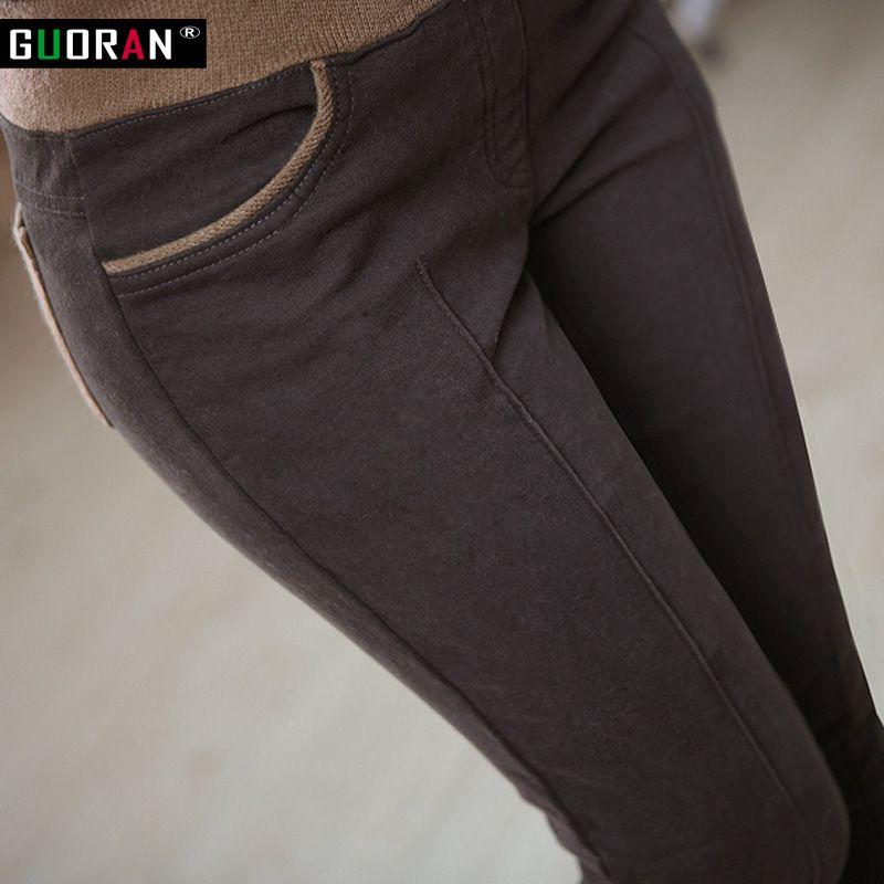 Hiver chaud femmes stretch haute taille elastique décontracté pantalon en coton grande taille S-4XL épais polaire dames patchwork pantalon moulant