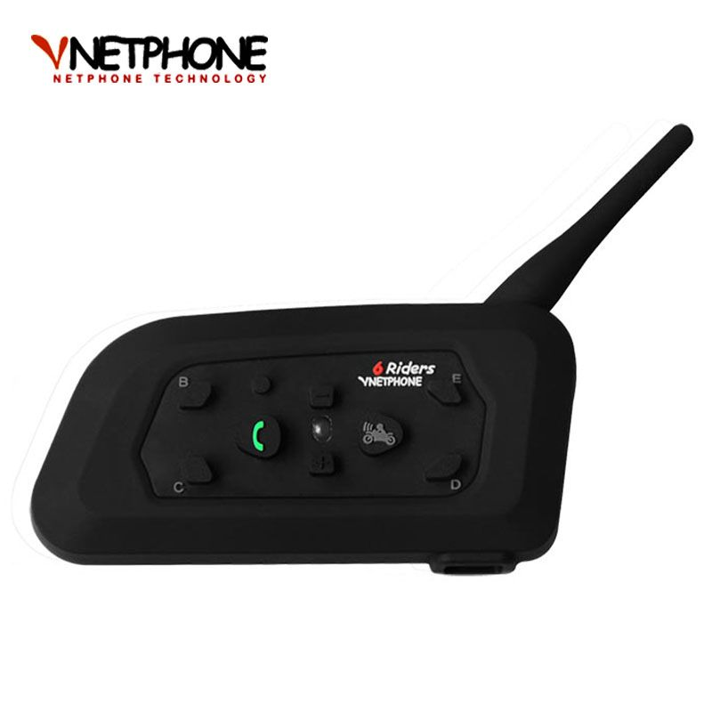 V6 Bluetooth Intercom Motorcycle Helmet Accessories Speaker 1200m 6 Riders Interphone Headset Support BT Wireless Mp3 Music GPS