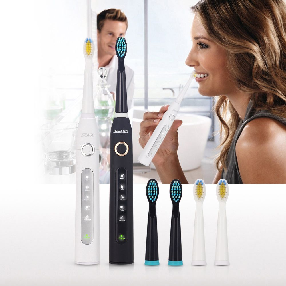 Seago Sonic Electric Toothbrush Rechargeable Waterproof USB Charger Timer Brush Teeth With 3 Replacement Tooth Brush Heads
