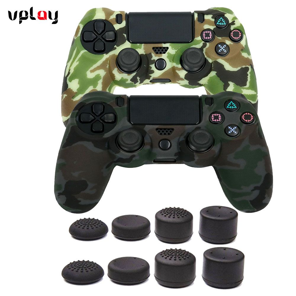 VPLAY for PS4 Controller Anti-slip Silicone Cover Skin case Protective Set for PS4 /SLIM /PRO controller + Thumb Grips x 8