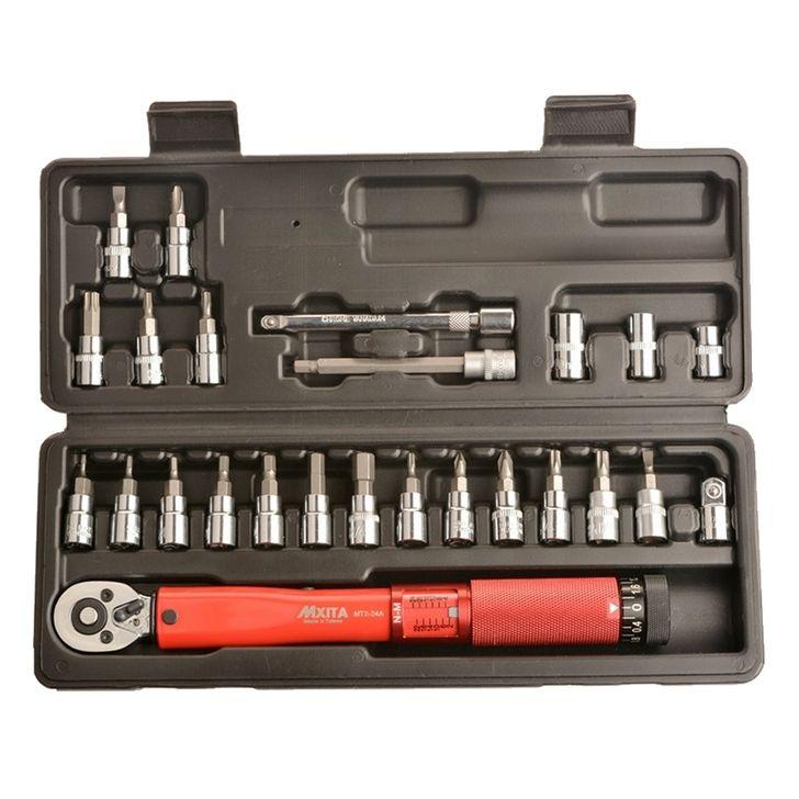 MXITA 1/4 pouces 1-25NM cliquez sur clé dynamométrique réglable kit d'outils de réparation de vélo ensemble d'outils de réparation de vélo