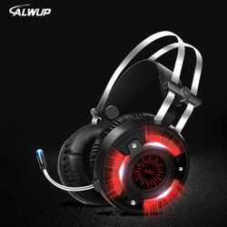 ALWUP A6 USB Headphone for computer PC games with splitter wired led HD Bass gaming headset for ps4 xbox one with microphone
