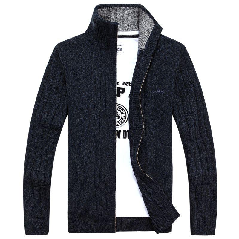 2017new Для мужчин свитер кардиган свитер на молнии куртка Для мужчин воротник черный свитер высокого качества свободные удобные теплые S-3XL mk518