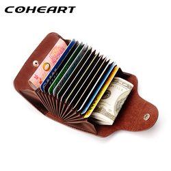 ¡COHEART carpeta de la tarjeta del cuero genuino para los hombres y mujeres del zurriago titular de la tarjeta de visita tarjeta de crédito monedero calidad superior!