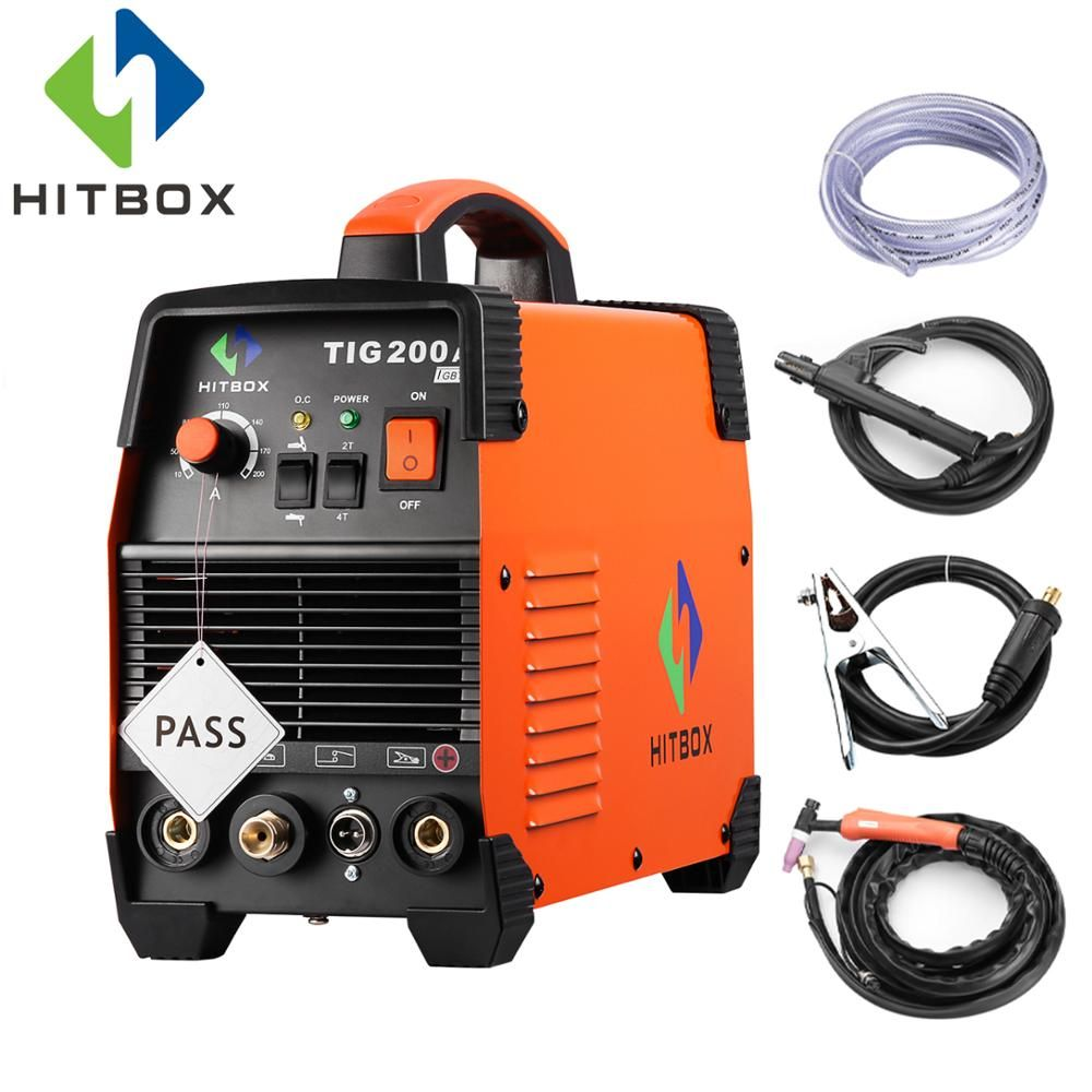 HITBOX Tig Welders 2 IN 1 TIG200A TIG MMA Function Single Phase 220V Tig Welding Machine With Standard Accessories