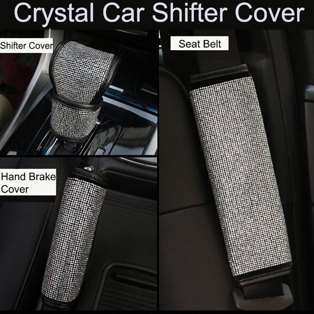 2Pcs/3pcs/Set Crystal Diamond Car Handbrake Cover Gear Shifter Knob Cover Auto Shiny Hand Brake  Seat Belt Cover Car Accessories