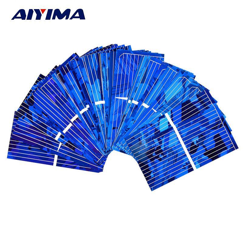 AIYIMA 100 pièces couleur cristal panneau solaire cellule solaire 52*26mm 0.5 V 450mA Module solaire bricolage Sunpower chargeur batterie externe
