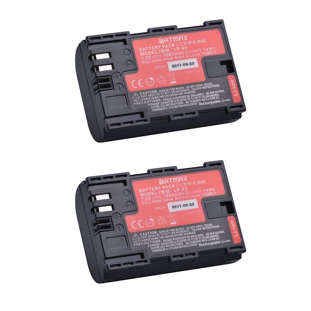 2pcs LP-E6 LP E6 LP-E6N battery AKKU made with Japan Cells for Canon EOS 5D Mark II III 5DS 5DSR 6D 7D 60D 60Da 70D 80D