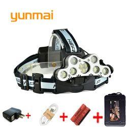 Alta potencia led faro 25000 lúmenes 5/7/9 LED faro cree XML T6 Q5 batería 18650 USB lámpara principal Linternas Pesca luz antorcha