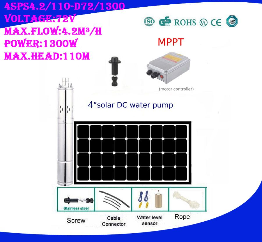 3 Years Warranty 1 Inch Outlet Solar High Pressure Pump Fountain Pompe Solaire For Pond 4SPS4.2/110-D72/1300