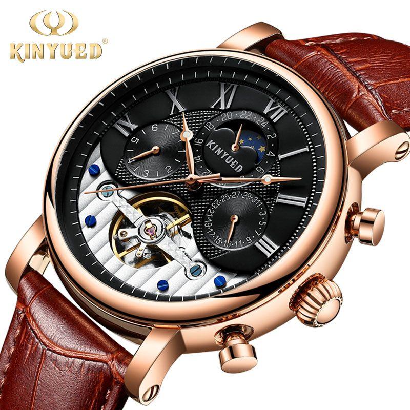 KINYUED Moon Phase Skeleton Watch Men Classic Perpetual Calendar Tourbillon Mechanical Watches Automatic Mens erkek kol saati