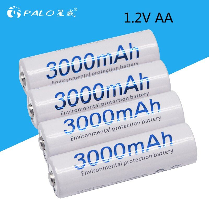 4 pièces AA 3000 mAh 1.2 V qualité NI-MH batterie Rechargeable AA 3000 mAh PALO Recarregavel 2A batterie Batteries Baterias Bateria