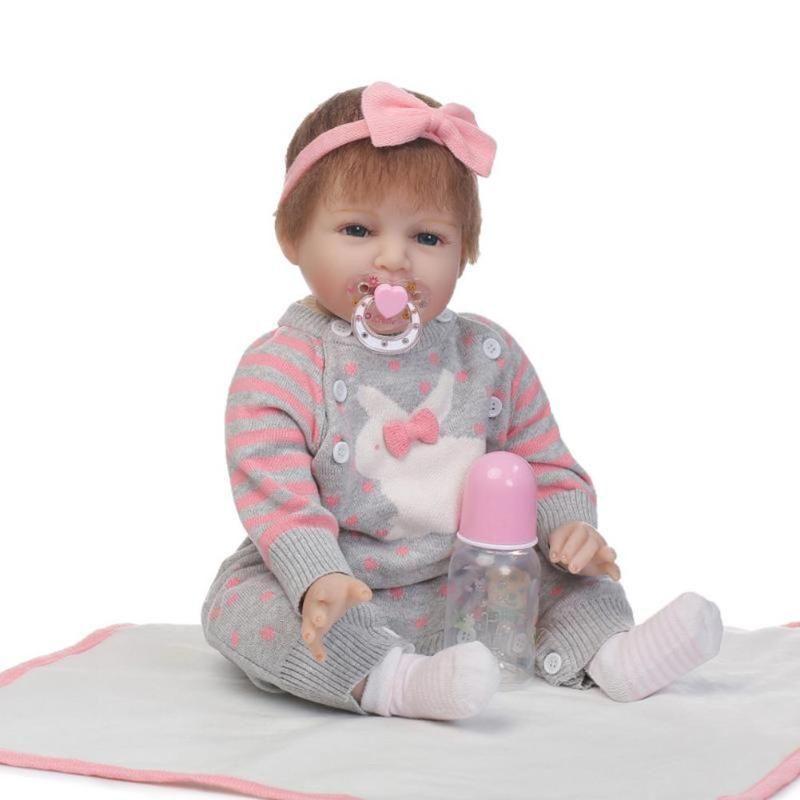 55cm NPK Cute Girl Silicone Simulation Reborn Baby Doll Kids Sleeping Toys girls brithday gifts reborn dolls collect