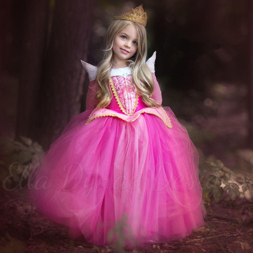 2017 nouveauté princesse filles belle au bois dormant robe princesse Aurora rose robe pour fête de mariage cadeau de noël de haute qualité