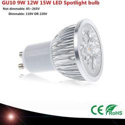 1 pcs Super Lumineux LED 9 W 12 W 15 W GU10 LED Ampoule lumière Lampe 110 V 220 V Dimmable Led Spots Blanc Chaud/Blanc Pur/Frais blanc