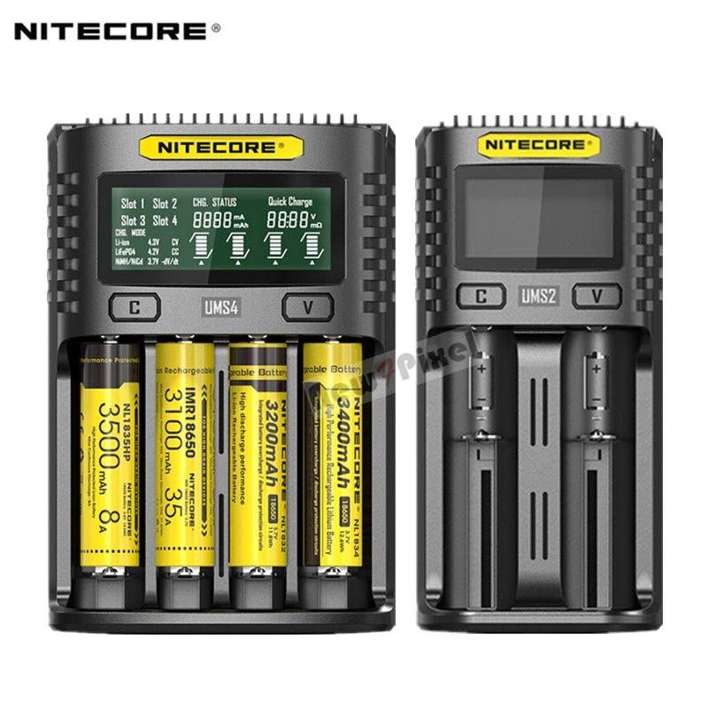 100% Original Nitecore UMS4 UMS2 UM4 UM2 USB QC Batterie 3A Schnell Ladegerät Intelligente Schaltung Globalen Versicherungs li-ion AA AAA