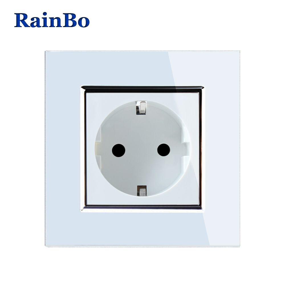 RainBo Brand NEW EU Wall Socket EU Standard Power Socket White Crystal Glass Panel AC 110~250V 16A Wall Power Socket A18EW/B