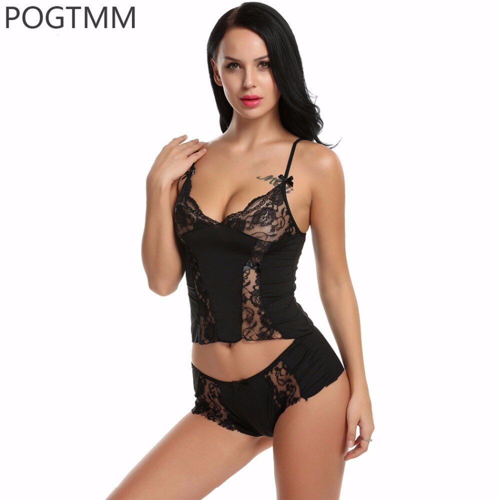 Summer Floral Lace Modal Sexy Pajama Set Women Camisole and Panties Underwear Suit Female Pyjama Sleepwear Nightwear Clothing