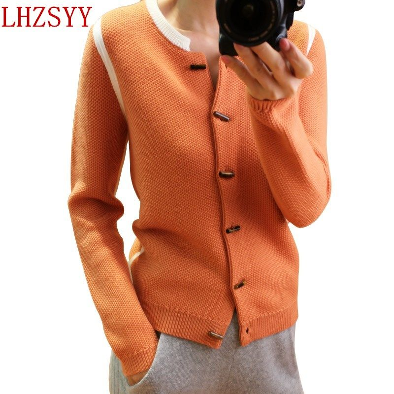 LHZSYY 2017 Hot Autumn and winter New O-collar Cashmere Cardigan Women thick coat Short section Sweaters fashion soft jacket