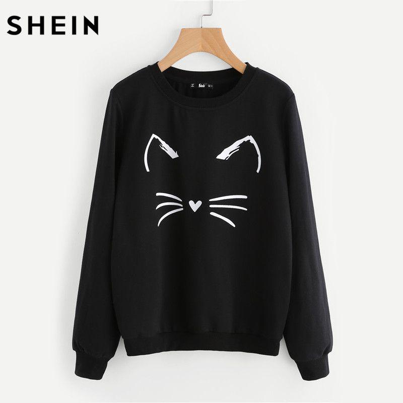 SHEIN Cartoon Cat Print Sweatshirt Long Sleeve Casual Women Pullovers <font><b>Black</b></font> Round Neck Cute Sweatshirt for Women